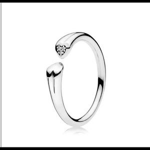 PANDORA Sterling Silver CZ Two Hearts Ring 56 7.5